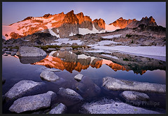 Dragontail Sunrise (Chip Phillips) Tags: blue red lake reflection horizontal landscape photography washington state phillips lakes peak alpine granite chip canon5d isolation wilderness region tranquil enchantment alpenglow dragontail canon1740
