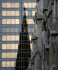 St. Patrick's Cathedral (Dreamer7112) Tags: nyc newyorkcity windows newyork reflection 20d church facade reflections cathedral manhattan canon20d stpatrickscathedral 5thavenue facades canoneos20d explore mirrored fifthavenue iny eos20d saintpatrickscathedral olympictower novaiorque