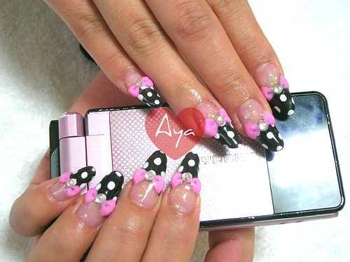 kawaii deco nails girl