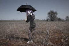 It seems to be rainy (Arman_Zhenikeyev) Tags: autumn storm man color male fall halloween rain weather fashion horizontal standing umbrella outdoors crazy glamour solitude darkness absurd circus clown horizon seasonal creative makeup sunshade spooky odd vogue human freak parasol wig fancy horror funnyman characters nightmare concept mad creature madman chimera bizarre steppe evildoer frizz precipitation periwig buffoon malefactor