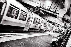 The Tube (espinozr) Tags: uk inglaterra bw holiday london byn train subway tren europe metro weekend tube londres angleterre tilted 2010 distorsionado distorded