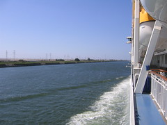 Side of The World sailing through the Suez Canal (RossM) Tags: egypt theworld portsaidegypt