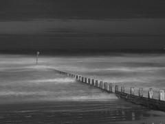 Ghostly surf (~Glen B~) Tags: uk longexposure sea england beach night sand surf waves cleveland paintingwithlight groyne teesside redcar groynes