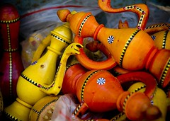 Tea Pots (Fishcharge) Tags: china red orange yellow woodwork crafts xinjiang teapot kashgar