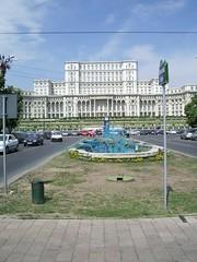 Bucharest - Palatul Poporului - blue fountain