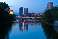 Downtown Grand Rapids (Darrin Wassom) Tags: bridge water night hotel nikon michigan grandrapids grandriver jwmarriott d80 amazingmich darrinwassom drwwp