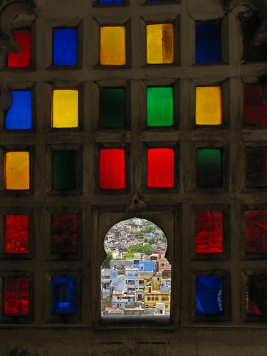 India - Colours of India - 012 - Looking through Udaipur Palace's stained glass windows