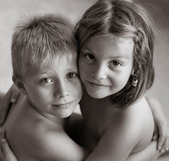 together (david_CD) Tags: girls portrait bw david boys kids children faces siblings hugs losangles childish lightonkids