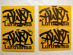 TWIST Lufthansa labels (TRUE 2 DEATH) Tags: streetart graffiti la losangeles 2000 label tag graf twist barrymcgee labels lufthansa mycollection 2k hammermuseum slaptag unstuck