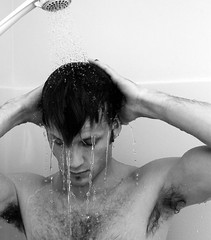 good clean fun (Adam FLiK) Tags: blackandwhite bw selfportrait adam me wet water shower nikon clean tamron f28 d1x 2875mm 10faves excellentphotographerawards humanbodygallerybw