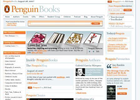 New penguin.co.uk homepage