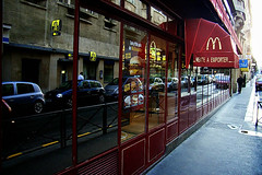Macdonald in red, Paris, France (hk_traveller) Tags: trip travel red vacation paris france reflection mirror photo europe turbo r1 ricoh macdonald ricohr1 turbophoto