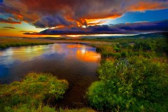 Summer night ... (asmundur) Tags: sunset orange reflection green water colors night digital photoshop river photography iceland saturated bravo lab flickr bracket vivid foliage saturation av supersaturated hsafell naturesfinest 2xp magicdonkey efs1022mmf3545usm aeb canoneos30d nohdr kald