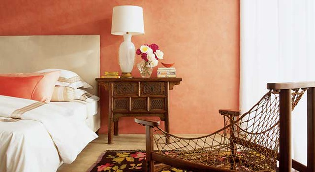 Peach bedroom from Metropolitan Home