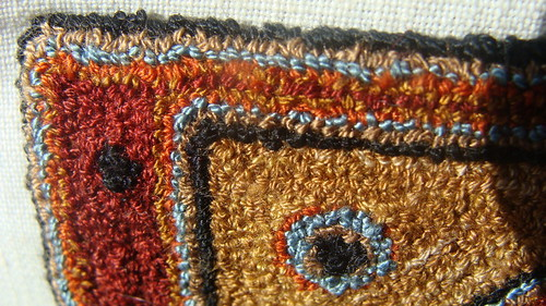 punch needle dollhouse rug miniature art by folk artist karthur