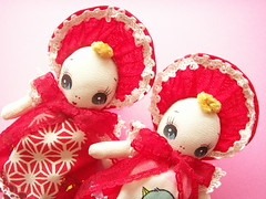 Handmade Bunka Dolls Cute Little Twin Sisters Japanese Fabric ♫