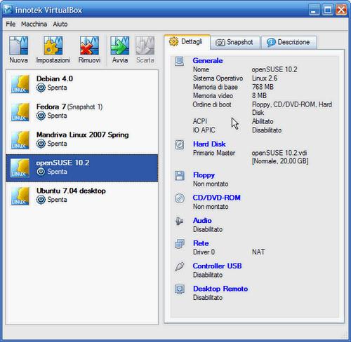 VirtualBox - prima fase setup macchina virtuale conclusa