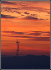sutro tower sunrise (on2wheelz) Tags: sanfrancisco orange silhouette sunrise dawn marin sutro sfbayarea sutrotower 2007 anawesomeshot wowiekazowie jeffav jarcher on2wheelz jeffarcher raficutter2002 raficutter jeffav2007