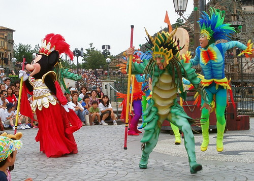 After the dancers create excitement, the characters take to the shore and dance along with Mickey in the background keeping the rythm.