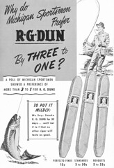 50's Vintage Michigan Stream Fishing Cigar Ad Artwork (UpNorth Memories - Donald (Don) Harrison) Tags: vintage fishing women stream michigan memories salmon conservation trout upnorth benzie upnorthmemories donharrison