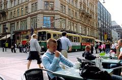 "Helsinki (Peter Gutierrez) Tags: photo europe european europeans north northern nordic baltic gulf finland finn finns finnish suomi suomen tasavalta ""suomen tasavalta"" swedish ""republiken finland"" republiken helsinki helsingfors city helsingin kaupunki ""helsingfors stad"" ""helsingin kaupunki"" people person urban town sidewalk cafe café pedestrian pedestrians tram tramway building buildings peter gutierrez petergutierrez blonde blondes blond blonds public transport mass commute commuter commuters passenger passengers film photograph photography"