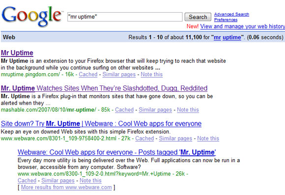 Mr Uptime Google search
