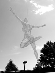Woman Sprung (slipgrove) Tags: blackandwhite sculpture woman wire nakedwoman metalsculpture wiresculpture slipgrove