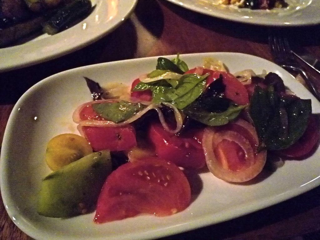 Heirloom tomato and basil salad, cabernet dressing