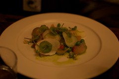 Fresh peas, yuzu, and white radish salad