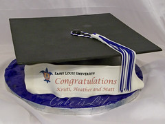 Graduation Cap Cake (Cake is Life ~ Emily) Tags: blue white black cake graduation tassle fondant graduationcap