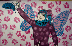 pink (surfjungle) Tags: pink blue woman color colour art girl butterfly graffiti wings purple cyan poland gdansk 2010 clowers catchingbutterflies