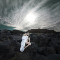 Dreaming, wide awake (Leah Johnston) Tags: redrockcanyon california selfportrait self volcano lava sleep leah magic fineart prayer dream surreal roadtrip dreaming bodie surrender johnston volcanicrock blackrock wideawake purity whitedress fossilfalls jasonrobertbrown leahjohnston