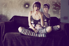 Twins (Nanihta (Sol Vzquez)) Tags: auto espaa art sol girl socks photomanipulation photoshop photography spain chica retrato sony autoretrato autorretrato doble  fotografa vazquez selbstportrt    vzquez nanah  duplicar duplicidad nanihta bestportraitsaoi tripleniceshot elitegalleryaoi