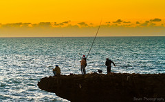 Fishing before Sunset I (Beum Gallery) Tags: ocean sea mer fishing fisherman atlantic morocco maroc rabat pche atlantique pcheurs ocan