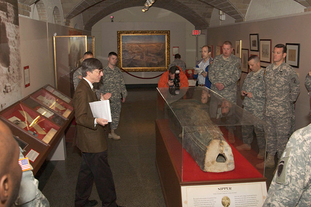 The soldiers were greeted by Dr. C. Brian Rose, Deputy Director, Penn Museum, and President of the Archaeological Institute of America. Dr. Rose has been offering American troops headed to Iraq and Afghanistan cultural heritage training since 2004