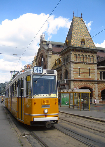 Tram outside the market hall