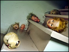 doll heads (JessiQua) Tags: broken stairs dolls steps surreal freaky odd heads dollheads shadowplay pixies strangeness whidbey freeland whereismymind