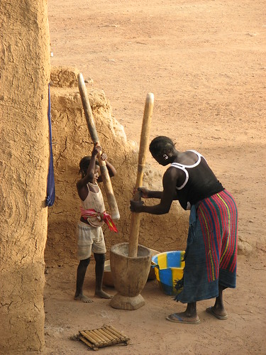 Hitting Rice with Sticks in Mali