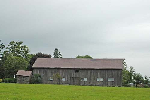 grey barn grey day
