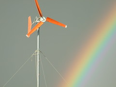 Our DIY wind turbine and the rainbow (In dust we trust) Tags: city black rock diy wind playa burningman homemade generator finepix fujifilm turbine 2007 s6000fd