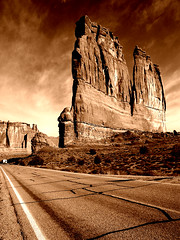 Road of Giants (Tiffibunny) Tags: road sky nature photoshop utah ut rocks desert copper archesnationalpark naturesfinest optikverve platinumphoto betterthangood