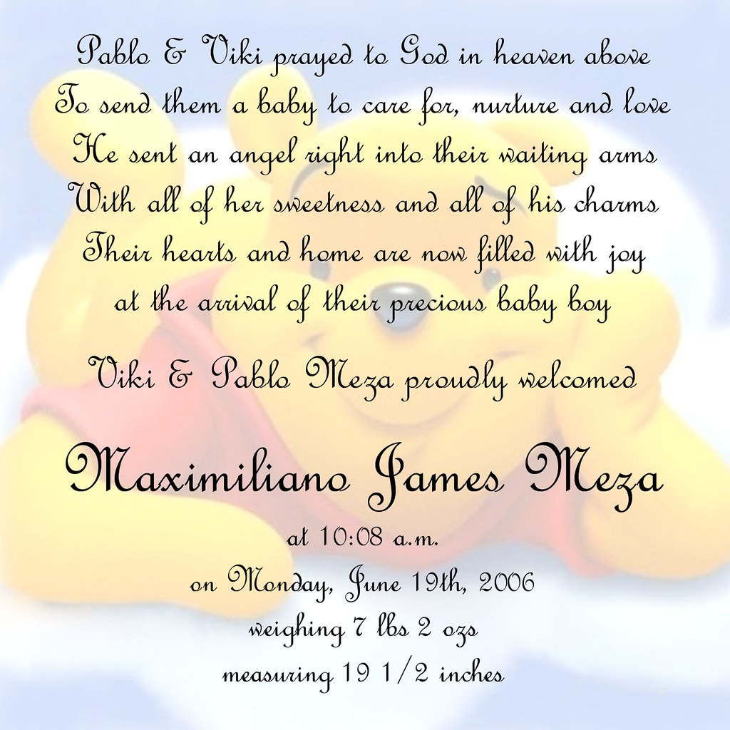 WINNIE THE POOH BABY ANNOUNCEMENTS WINNIE THE POOH BABY – Winnie the Pooh Birth Announcement