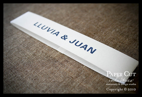 Lluvia & Juan: Blue Block Type Wedding Invitations & Post Card RSVP Cards