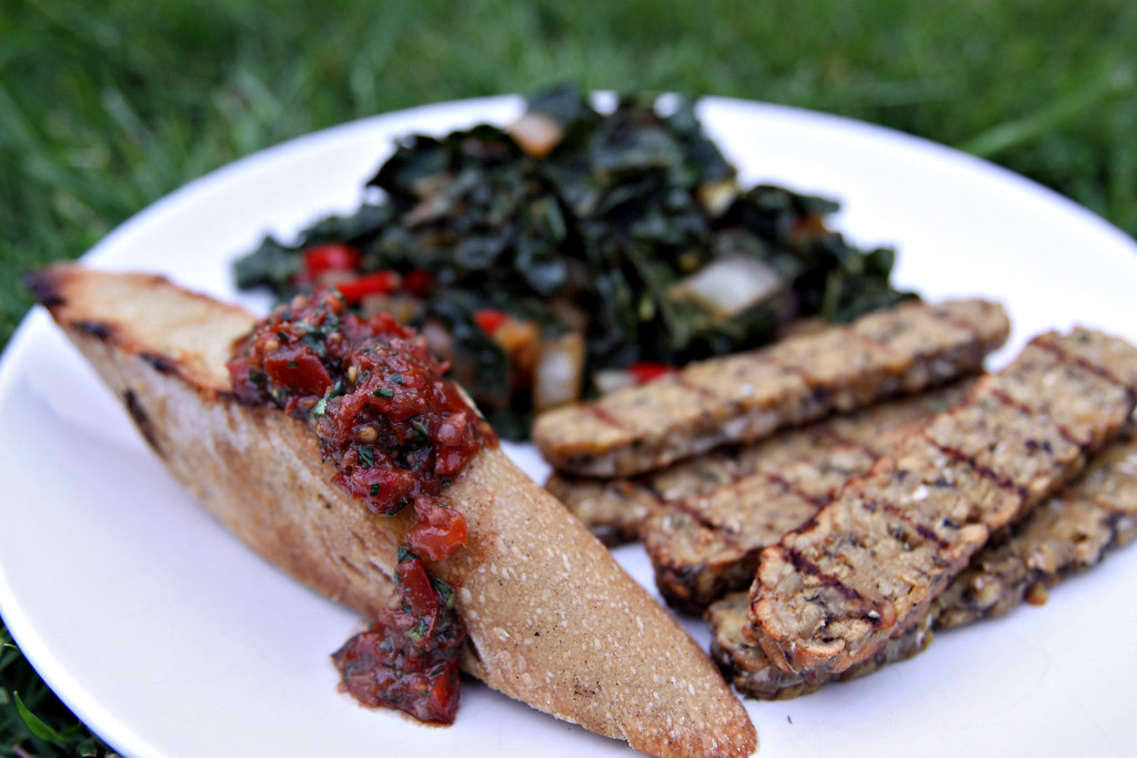 Grilled bruschetta and Italian tempeh