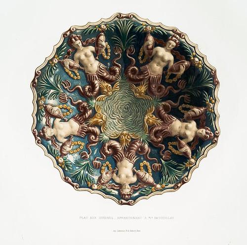 018-Plato de las sirenas-perteneciente al Sr. Beurdelay-Monographie de l'oeuvre de Bernard Palissy…1862