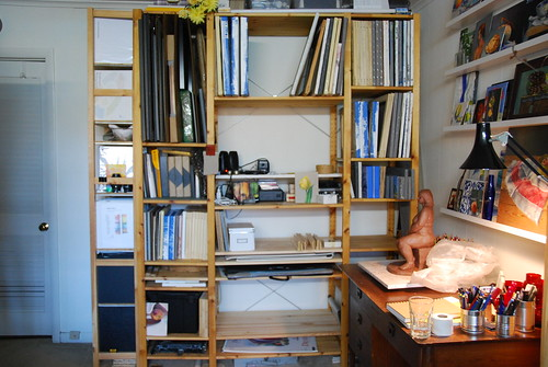 Ikea shelving in the studio