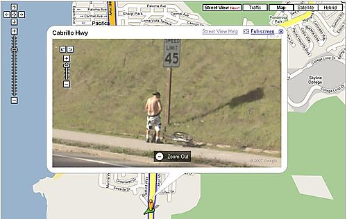 Guy Peeing on the Side of the Road: Google Maps