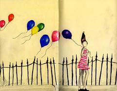 Dreamin' (Lucia Whittaker) Tags: street art moleskine girl pencil hair balloons book dress drawing walk diary surreal stretch tall railings slant multicolor lorna stripy siegel dreamjournal
