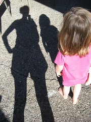 Shadows of a mother and a daughter