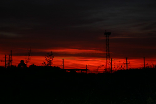Blood Red Sunset in Railway Wasteland